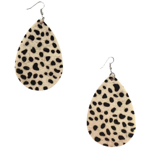 Snow Leopard Teardrop Earrings