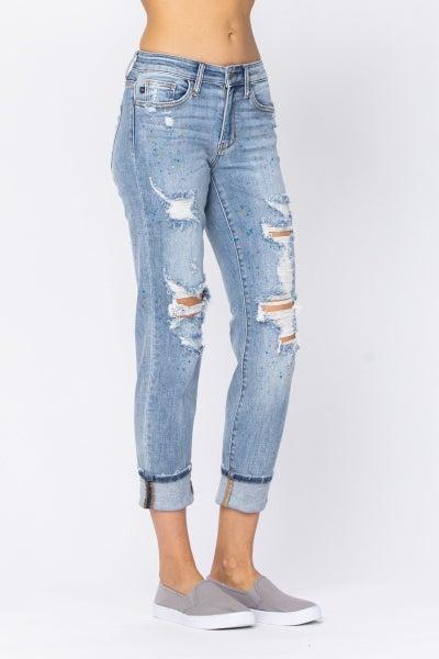 Paint Splashed Boyfriend Jeans