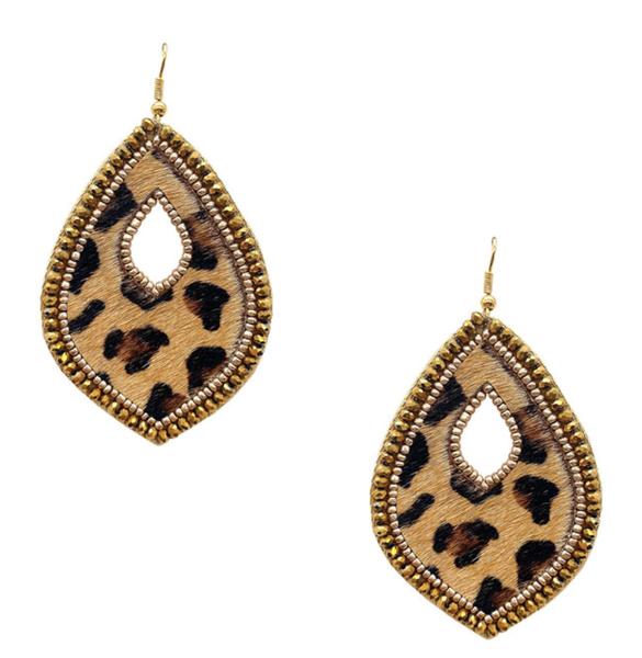 Bronze Crystal Leopard Earrings