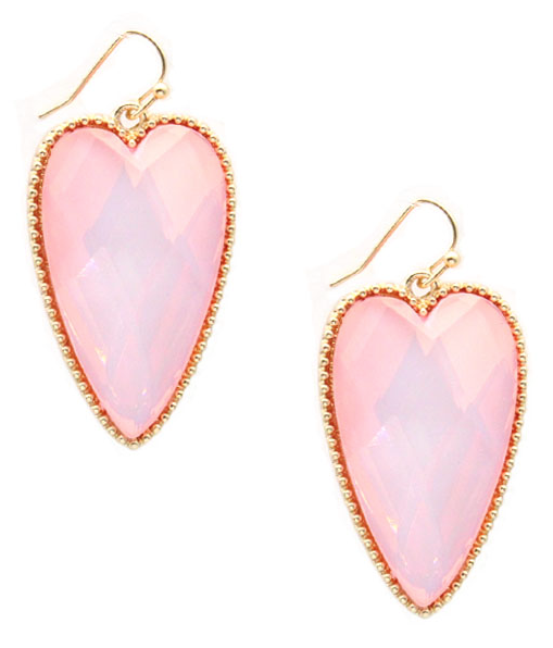 Iridescent Pink Crystal Heart Earrings