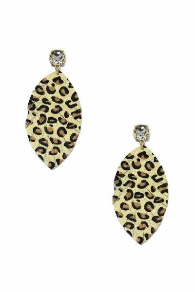 Crystal Leopard Feather Earrings