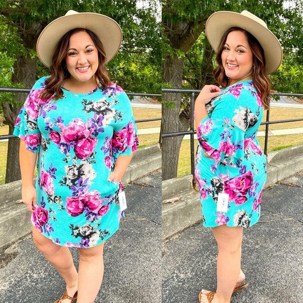 Mint Floral Flutter Sleeve Dress