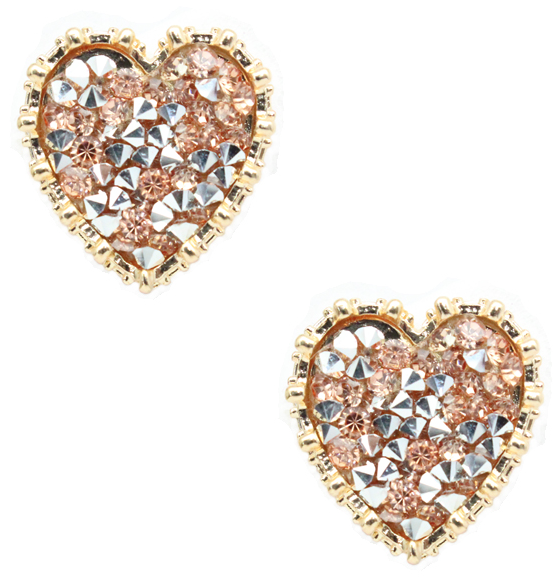 Rose Gold Crystal Heart Studs