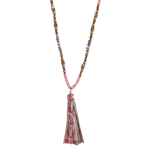 Pink Beaded Floral Tassel Necklace