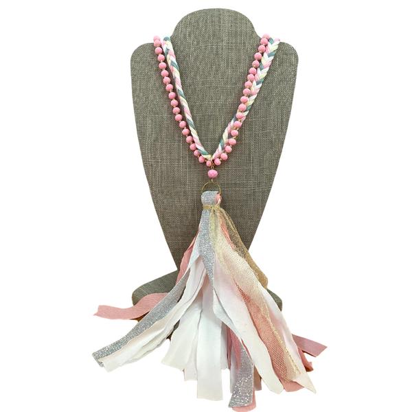 Pink Braided Glitter Tassel Necklace