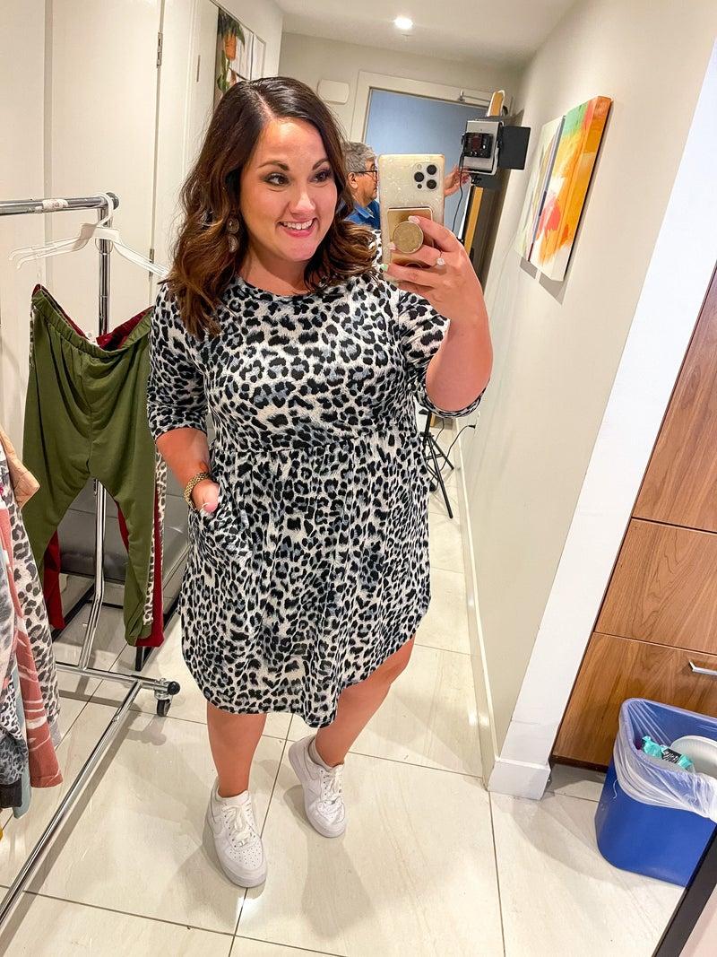 PRE-ORDER Wrinkle Free Grey Leopard Dress