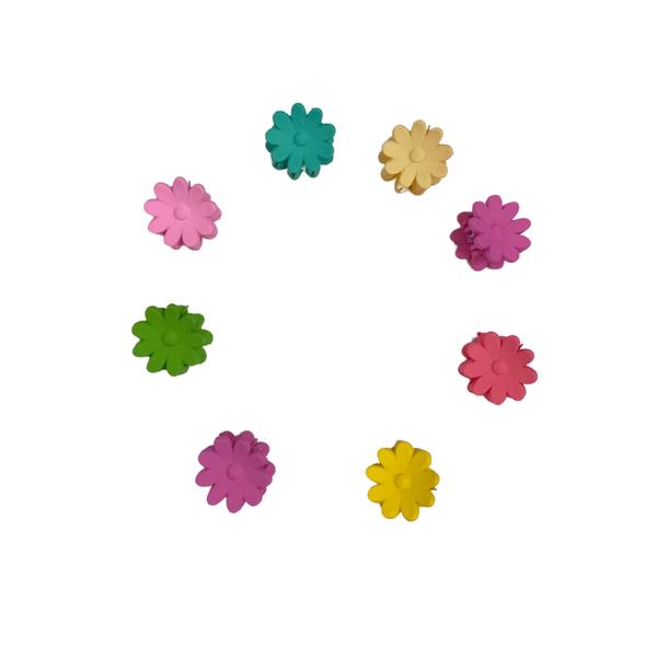 Multi Color Flower Clips - set of 8