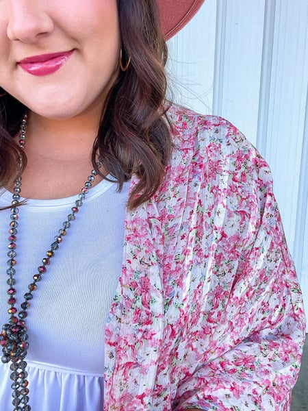 Zola Metallic Floral Kimono