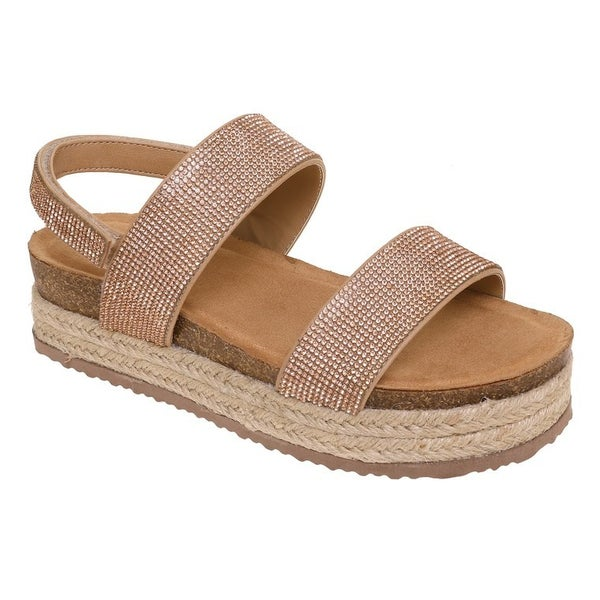 Rose Gold Crystal Platform Sandals
