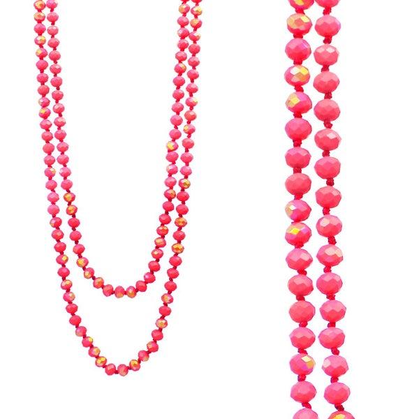 Matte Pink Iridescent Wrap Necklace