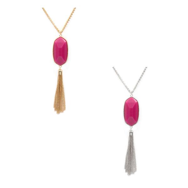 Fuchsia Pendant Tassel Necklace