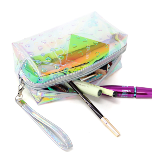 Holographic Heart Cosmetic Bag