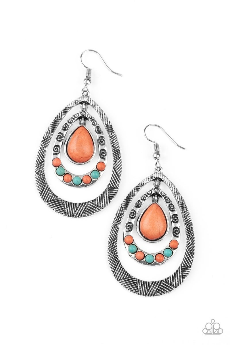 Paparazzi Terra Teardrops - Orange