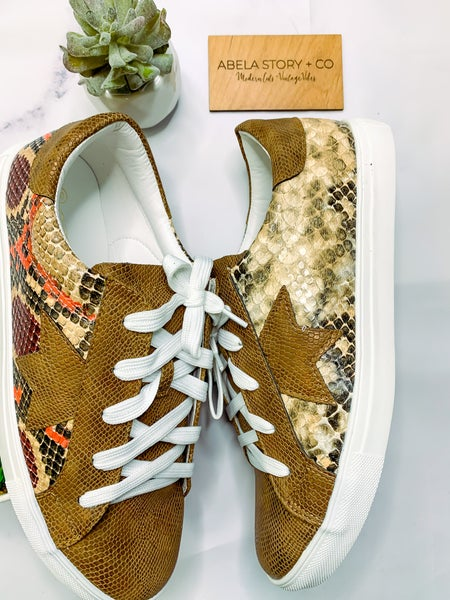 Coco Brown Snake Fashion Sneakers *Final Sale*