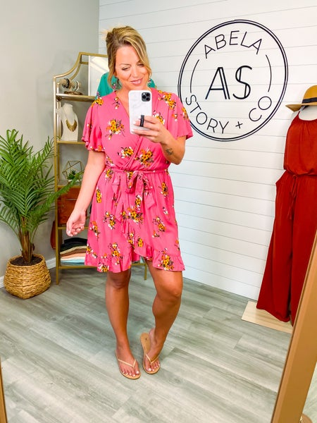 Always Abloom Floral Crossover Tunic Dress - Pink *Final Sale*