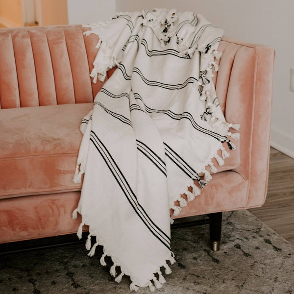 Taylor Turkish Throw Blanket - Three Stripe