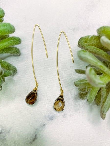 TRIL02 Hook Earrings - Smokey/Gold