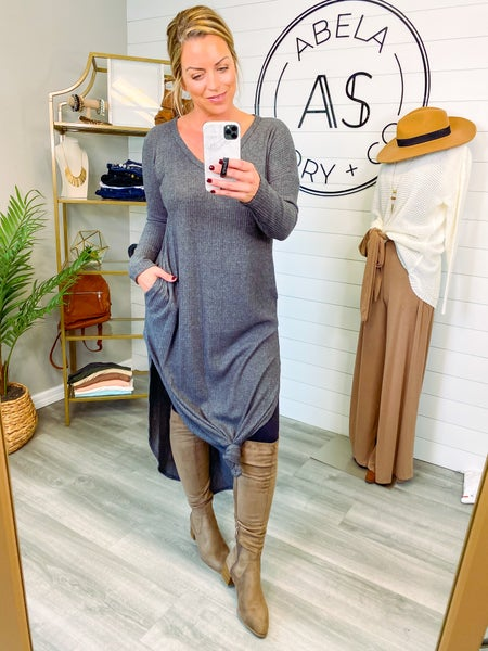Hadley Waffle Knit Maxi Dress - Charcoal