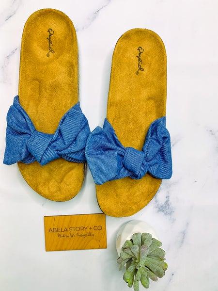 Haidy Bow Slip On Sandals - Blue Denim *Final Sale*