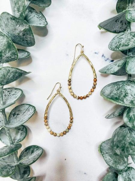 Semi Precious Pear Shaped Earrings