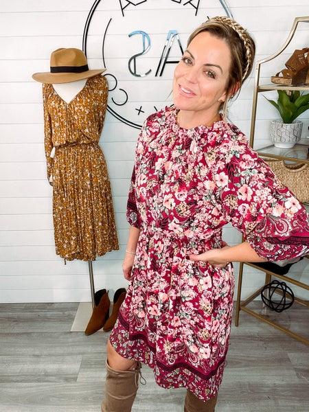 Feeling at Ease Floral Elastic Waist Dress - Burgundy *Final Sale*