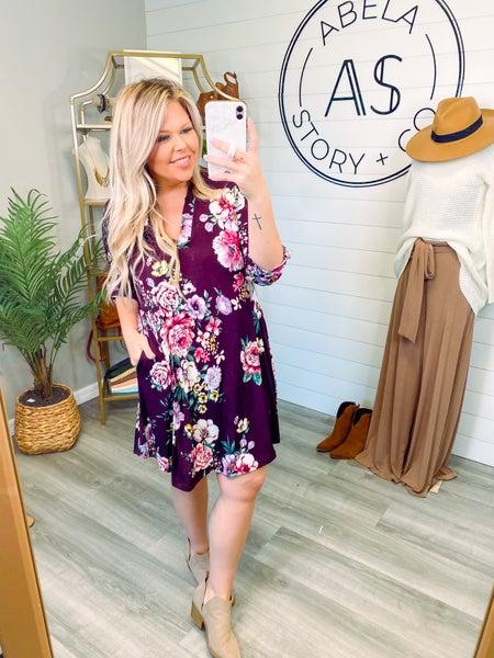Little Getaway Floral Short Sleeve Knit Dress - Purple (Plus + Reg) *Final Sale*