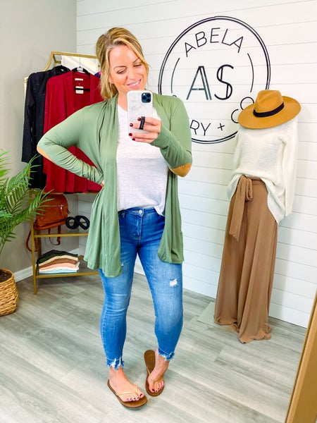 Kari Open Front Elbow Patch Cardigan - Olive *Final Sale*
