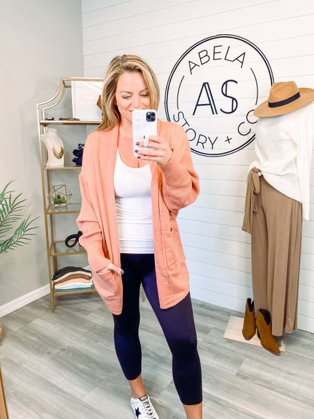 Once in a Lifetime Two Tone Waffle Knit Cardigan - Clay