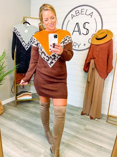The Good Fight Animal Print Sweater Dress - Khaki *Final Sale*