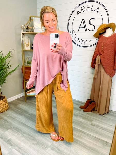 On the Down Low Wide Leg Palazzo Pants - Camel