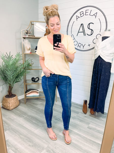 What You Get High Rise Mid Seam Skinny Jeans (Plus + Reg)