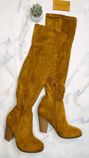 Max Suede Knee High Boots- Tan