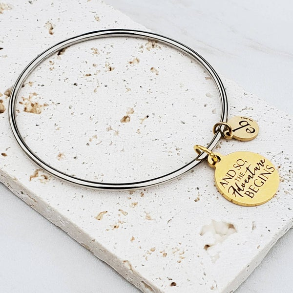 Inspirational Quote Mantra Silver Bangle