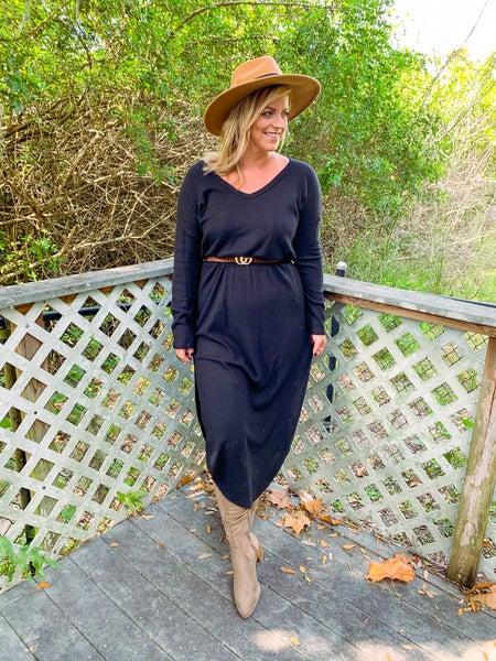 Hadley Waffle Knit Maxi Dress - Black