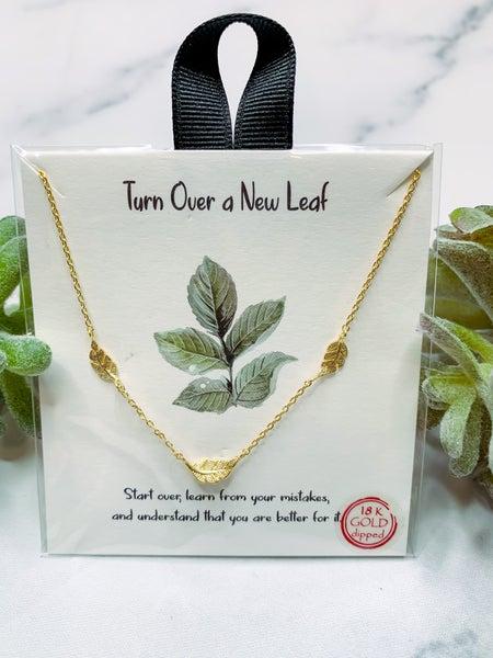 Turn Leaf Necklace - Gold
