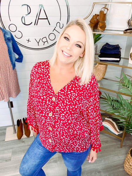 Pick You First Dainty Floral Top - Red