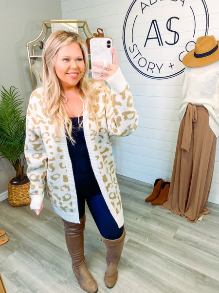Fierce Desires Animal Print Open Front Cardigan - Taupe *Final Sale*