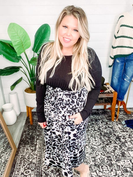 True to You Animal Print Solid Contrast Dress *Final Sale*