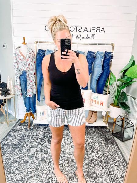 Set the Narrative Judy Blue High Waist Stripe Patch Pocket Shorts (Plus + Reg)