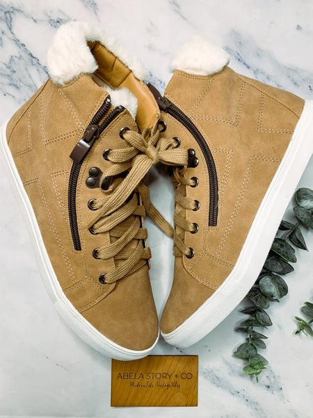 She Got The Sneakers With The Fur - Camel *Final Sale*