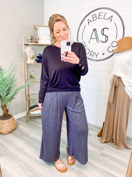 On the Down Low Wide Leg Palazzo Pants - Charcoal