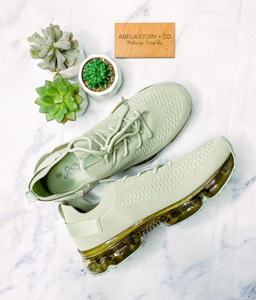 Flow Lace Up Fashion Sneakers - Light Olive