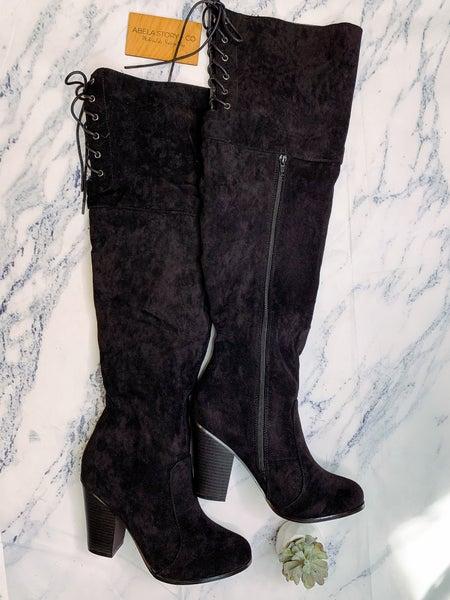 Max Chunky Heel Knee High Boots - Black *Final Sale*