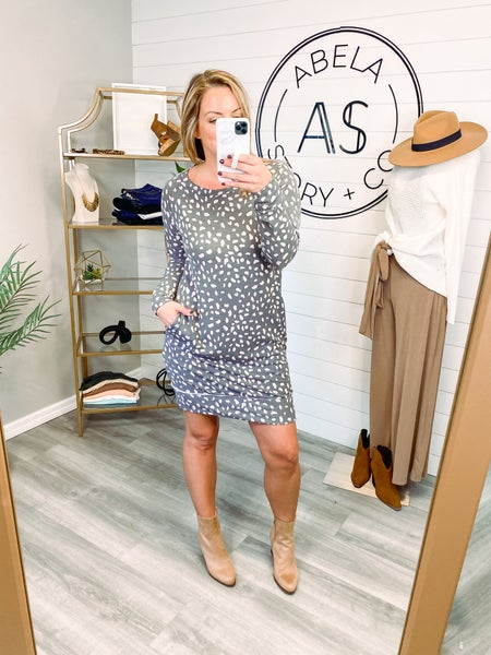 Capture the Moment Animal Print Sweatshirt Dress *Final Sale*