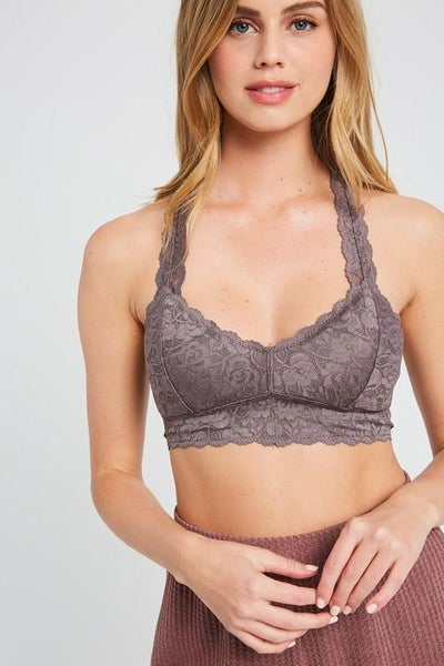 Riley Scalloped Racerback Padded Lace Bralette - Midnight