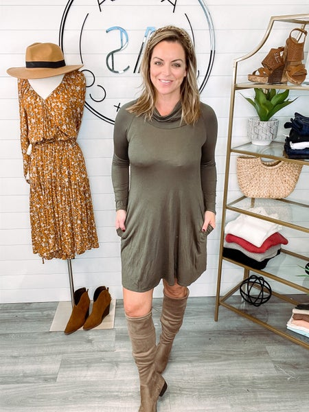 Style Expedition Cowl Neck Pocket Dress *Final Sale*