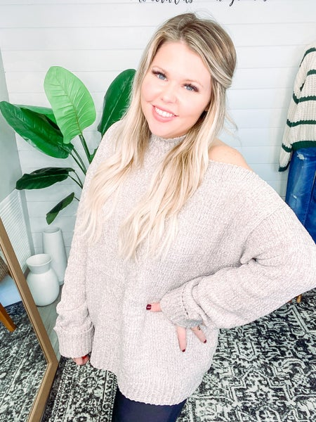 Keep Looking Cold Shoulder Sweater Top - Taupe *Final Sale*