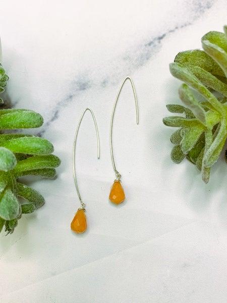 TRIL02 Hook Earrings - Carnelian Silver