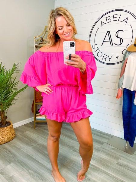 Summer Fiesta Ruffle Off the Shoulder Romper - Hot Pink