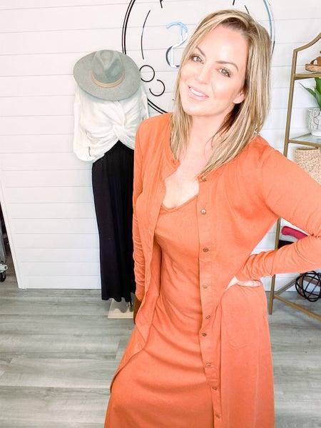 Pull You Closer Midi Knit Dress and Cardigan Set - Rust